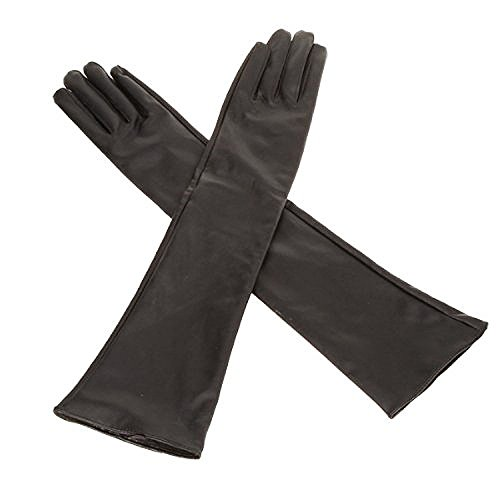 guanti lunghi pelle donna guanti - TOOGOO(R) Lunghi guanti in pelle morbida artificiale delle donne / signore  - Nero
