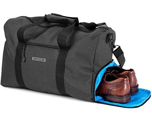 Ronin's stilvolle Sporttasche Reisetasche mit Schuhfach und Trinkflaschen-Halter | 38 Liter Handgepäck Tasche 55x40x20 | Hochwertige Canvas Weekender Tasche für Damen und Herren (Polyester-handgepäck)