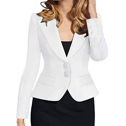 catmoew Anzug für Damen Damenanzug Revers Einfach Retro Einreiher schlanke einfarbige kleine Anzugjacke Anzug geeignet für die Arbeit zu...