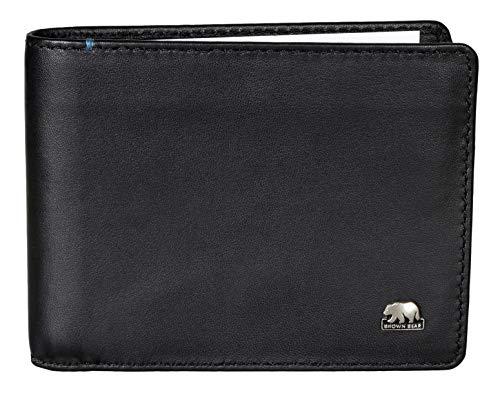 Brown Bear Business Geldbörse Herren klein Leder Farbe Schwarz ohne Münzfach mit RFID Schutz