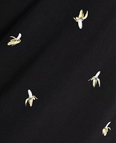 JACK & JONES Herren Poloshirt jorRARTY Polohemd Print Baumwolle Slim Fit Schwarz (Black Fit:SLIM Detail:BANANA)