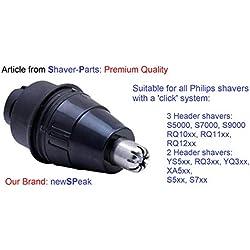 Attache-nez: tondeuse pour poils de nez ou oreilles, convient à tous les rasoirs Philips avec système «Click». Rasoir série S5000, S7000, S9000, RQ10xx, RQ11xx, RQ12xx.