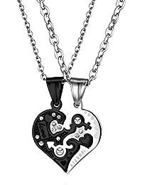 057e154a71ee Oidea Collar Hombre Mujer de Acero Inoxidable Circonita Colgante Corazón  Amor Eterno Cadena Incluida Joyería Moda Regalo Romántico Pareja…