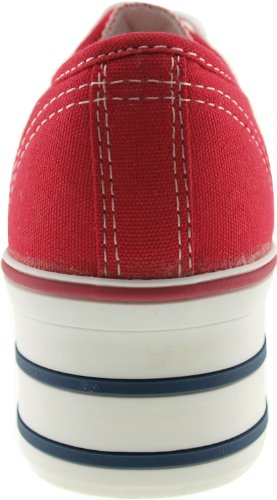 Maxstar C50 6 trous plate-forme basse table Trendy Chaussures-baskets Rouge - rouge