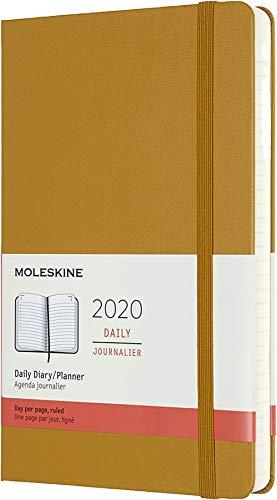 Moleskine, Agenda 12 Mesi Giornaliera 2020, Copertina Rigida e Chiusura ad Elastico, Colore Giallo Maturo, Dimensione Large 13 x 21 cm, 400 Pagine