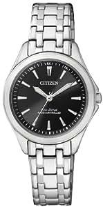 Citizen - ES4020-53E - Montre Femme - Quartz Analogique - Cadran Noir - Bracelet Acier Argent