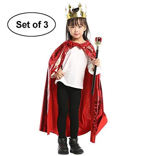 Baby Kostüm Red Devil - GLXQIJ Unisex Kids Cape Umhang Für Devil Witch Wizard Halloween Weihnachten Cosplay Kostüme, Mit Zubehör,Red,3PCSA