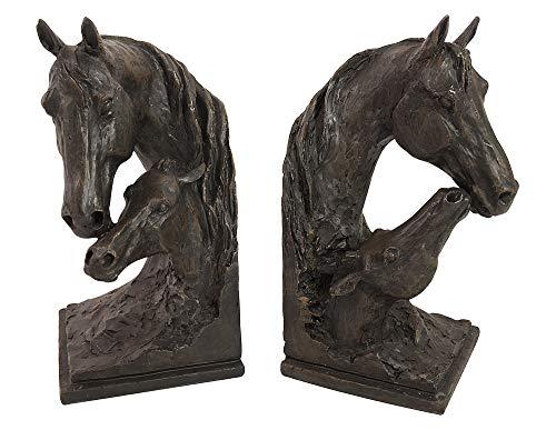 zeitzone Buchstütze Pferd Fohlen Buchständer Kunstguss Schwarz-Braun 2-teilig Antik-Stil -
