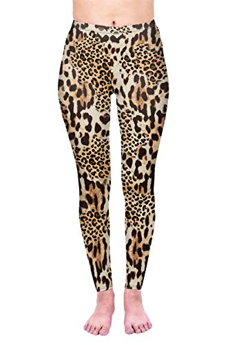 kukubird Printed Leopard Patterns Women's Yoga Leggings Gym Fitness Running Tights Size 6-10 Stretchable - Mix Leopard Print -