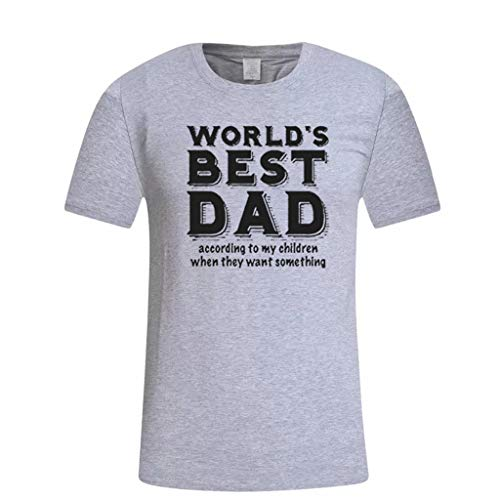 Casual Print Kurzarm T-Shirt Geschenk für die weltbesten DAD Tops(Large,Grau ()