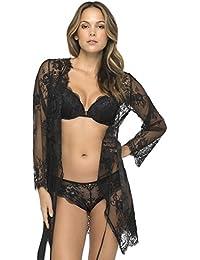 Sapph 6026-162 Womens Kylie Black Lace Dressing Gown Loungewear Bath Robe Kimono