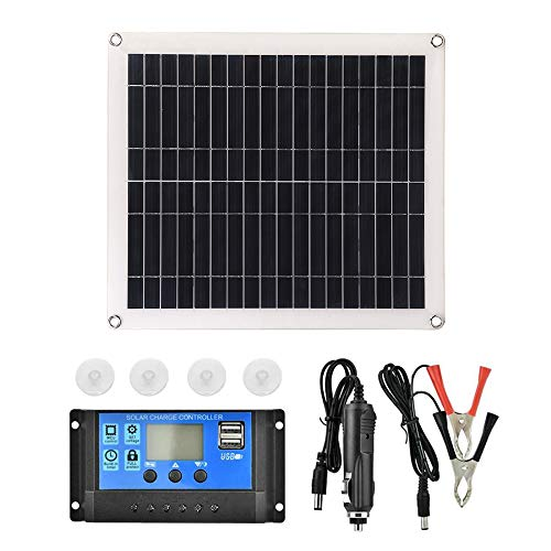 Decdeal Solarmodule und 10A PWM Solarregler 25W 5V Tragbarer Doppelter USB Anschluss Flexibles Hocheffizientes Sunpower Polycrystalline Solar Panel Power Kit mit Controller