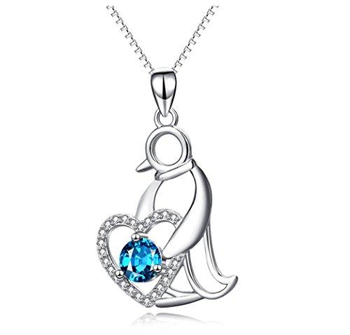 L&H Schlüsselbein Kette Pinguin Halskette in Sterling Silber Blau Zirkonia Herz Anhänger Schmuck Für Mädchen und Mutter