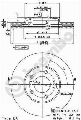 Preisvergleich Produktbild Bremsscheibe COATED DISC LINE - Brembo 09.8953.11