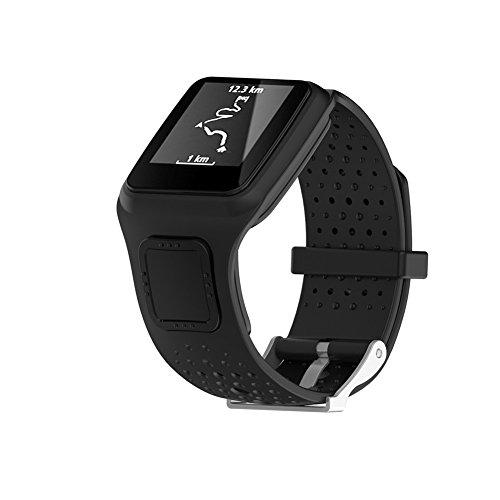 Cindaya Ersatz-Armband aus Silikon, weiches Silikongel, für Tomtom Multi-Sport/Cardio GPS-Watch Runner, Schwarz