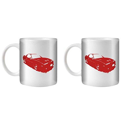 STUFF4 Tee/Kaffee Becher 350ml/2 Pack Rot/1987 Firebird Trans Am GTA/Weißkeramik/ST10