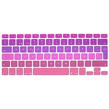 """Wayes - española Cubierta del teclado / Keyboard Cover para MacBook Pro 13"""" 15"""" 17"""" & Air 13"""" EU/ISO Disposición Silicone / Silicona Skin (Distribución del teclado de la UE / ISO) - mezclar morado y rosa"""