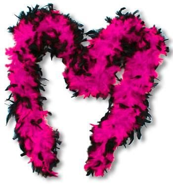 Feather Boa rose et noir