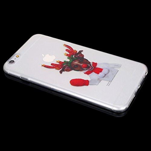 Cover per iPhone 6 / 6S 4.7 Pollice, Custodia iPhone 6 in Silicone Morbida, Surakey Serie di Natale Back Cover TPU Semi-Trasparente Sottile e Flessibile Premium Gel Gomma Custodia Protettiva Bumper Be Elk#2
