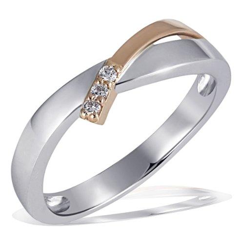 Goldmaid Damen-Ring Weissgold u. Rotgold 585 Bicolor 3 Diamanten SI/H 0,05 Karat Größe 52