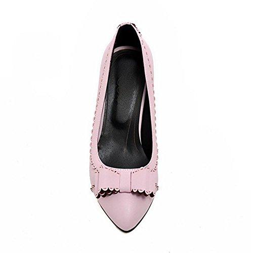 TAOFFEN Donna Punta Chiusa Scarpe Col Tacco Pink