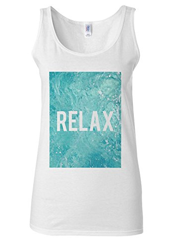 RELAX Holiday Mode Pool Relaxing White Women Vest Tank Top **Blanc
