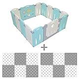 LILNAP Zusammenfaltbares Laufgitter TÜV Rheinland, CE & EN71 geprüft für Kinder aus Kunststoff mit Tür und Spielzeug (12 + 2 Panels + Puzzlematte)