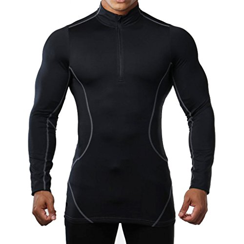 brokig Herren 1/4Zip Long Sleeve T Shirt, Apex Tech Athletic Compression Top Base Layer Gym Running Sport Shirts Medium schwarz (Plus Size Pirate Shirt)