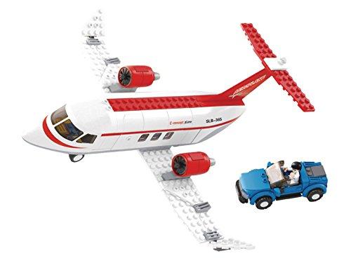 Funstones - Baustein Flugzeug Privat Jet + Auto + Figur Bausteine Bausatz Set Bau Steine