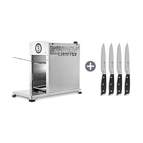 Beefer Grillgeräte Beefer Grillgerät One Pro inkl. Steakmesser-Set 4 tlg. silber Komplett aus Edelstahl gefertigt
