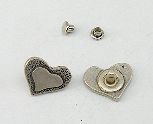2 Zierniete Metall Applikatione Zierteil Trachten Herz 05.12/295
