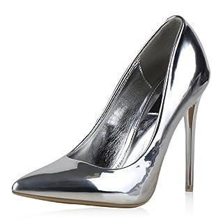 napoli-fashion Spitze Damen Pumps High Heels Lack Stilettos Metallic Party Abschlussball Hochzeit Damen Pumps Silber 36 Jennika