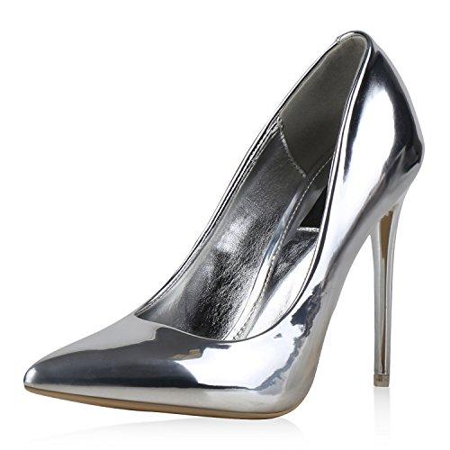 7b912facda0310 Spitze Damen Pumps Stiletto High Heels Lack Metallic Schuhe Partyschuhe  Lackleder-Optik Hochzeit Jennika Silber