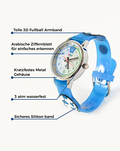 f5e519480c HAPIDS Lernuhr | Zeiger Armbanduhr Kinderuhr | Uhr zum Uhrzeit lesen lernen  für Kinder | Jungenuhr mit Fußball-Motiv | Farbe: Blau | Uhren-Discount.at