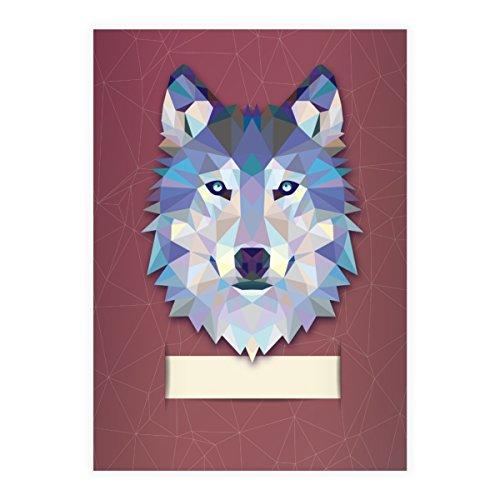 2 Starke Wildtier DIN A5 Schulhefte, Schreibhefte mit polygonalem Wolf in rot Lineatur 6 (blanko Heft)
