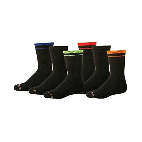 Gold Toe Big Jungen 6Stück Athletic Crew Socke Gr. Large, schwarz (Jungen Socken Toe Gold)