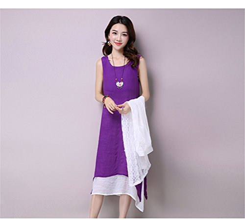 Womens Summer Style chinois Slim Cotton Linen Beach Dress + manches longues Cardiagn Violet