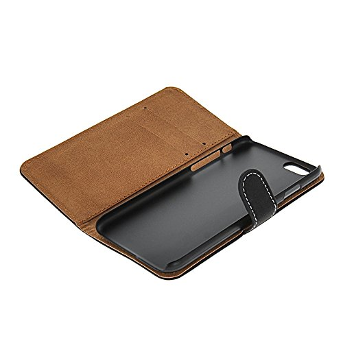 MOONCASE Cowskin Coque en Cuir Portefeuille Housse de Protection Étui à rabat Case pour Apple iPhone 6 (4.7 inch) Noir