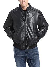 BGSD Men's Lambskin Leather Bomber Jacket (Regular Big & Tall)