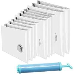 Diyife [10 Paquets] Sacs de Rangement sous Vide + Pompe sous Vide, Sacs à Aspiration sous Vide, Sacs à Glissière Double Doux et Sacs à Turbine à Triple étanchéité Sacs étanches à Vide