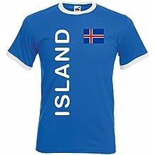 world-of-shirt Herren Retro T-Shirt Island Trikot EM 2016