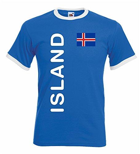 world-of-shirt Herren Retro T-Shirt Island Trikot EM 2016|blau-L