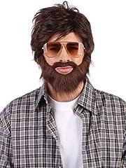 Idea Regalo - Boland Parrucca Marrone | con Barba | Taglia Unica | Adulti | Travestimento | Costume | Halloween | Carnevale | Festa Serata a Tema