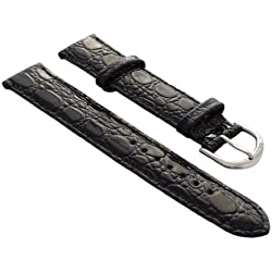 18mm Calf leather watch strap band in croc-design black with buckle in silver