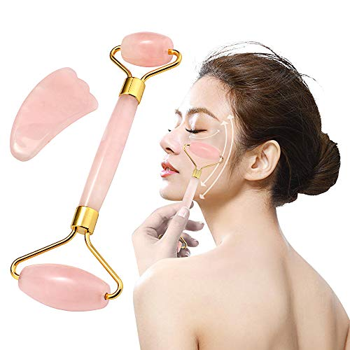 Rosenquarz Roller und Gua Sha Jade Roller 100% hochwertigster natürlicher Jade für Gesichtsmassagegerät Roller Massage - Massage Steinen Wellness