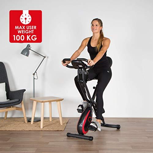 Ultrasport F-Bike 400BS Fahrradtrainer Cross mit Rückenlehne, Zugbandsystem, LC-Display und App, faltbar, matt schwarz - 3
