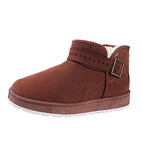 Scarpe da donna in pelle Nubuck Winter Snow Boots stivali tacco piatto rotondo Mid-Calf Toe stivali per Casual Khaki Nero Marrone Brown