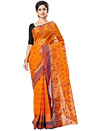 Slice Of Bengal Light Weight Broad Border Cotton Handloom Taant Tangail Saree Rust