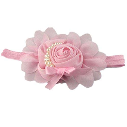 Tefamore Diademas Perla Headwear Rhinestone Encantador,Tocado De Flores De Gasa Para Bebé (Tamaño: los 19-25cm, Rosa)
