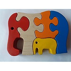 Holz puzzle Elefant handgefertigt Wildtier Elefant Geschenk für Kinder massiv Buchenholz Spielzeug Baby Elefant Safari